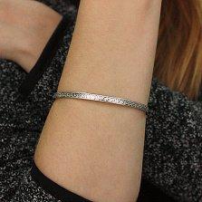 Серебряный жесткий браслет Меандр в стиле Версаче