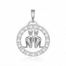 Серебряный подвес с кристаллами циркония Близнецы