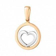Золотой кулон Защищенное сердце в комбинированном цвете металла
