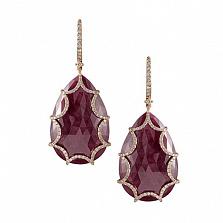 Золотые серьги с рубинами и бриллиантами Айседора