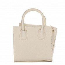 Миниатюрная кожаная сумка Genuine Leather 1517 бежевого цвета с клапаном и съемным ремнем
