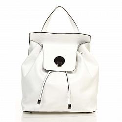 Кожаный рюкзак Genuine Leather 6202 белого цвета с металической застежкой на клапане