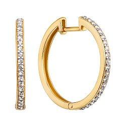 Золотые серьги-кольца в желтом и белом цвете с фианитами, d 23mm 000130580