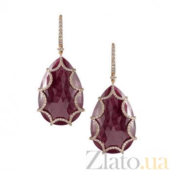 Золотые серьги с рубинами и бриллиантами Айседора KBL--С4003/крас/руб