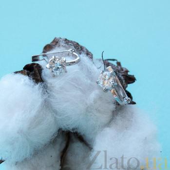Серьги из белого золота с фианитами Сокорро VLN--213-1288*