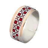 Серебряное кольцо Шахматка с золотой вставкой и эмалью