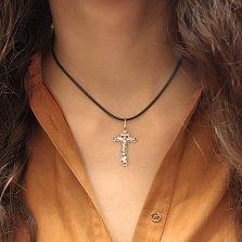 Серебряный крестик Ангельская благодать на изогнутой ажурной основе