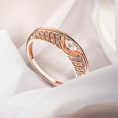 Кольцо из красного золота с кристаллами Swarovski 000137700