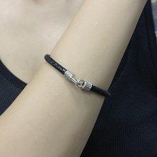 Кожаный браслет Арго в черном цвете с серебряным замком и чернением