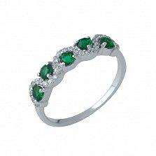 Серебряное кольцо Тамхина с синтезированными изумрудами и извилистой дорожкой фианитов