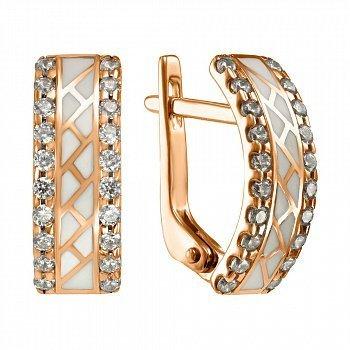 Золотые серьги Лоретта с фианитами и эмалью 000046744