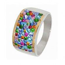 Серебряное кольцо Марлен с золотом и фианитами