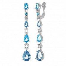 Серебряные серьги-подвески Вечный танец с кварцами под голубой и лондон топазы и фианитами