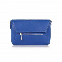 Кожаный клатч Genuine Leather 1522 синего цвета с клапаном на магните