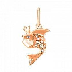 Серебряный кулон Рыбка с фианитами и позолотой 000028685
