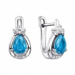 Серебряные серьги с голубыми топазами и фианитами 000134892