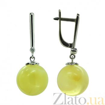 Серебряные серьги с бриллиантами и янтарём Ноа ZMX--EDAmber-6963-Ag_K