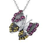 Золотой кулон с бриллиантами и цветными сапфирами Бабочка