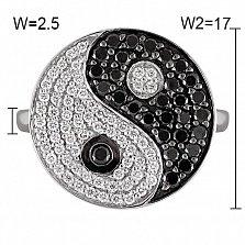 Кольцо из белого золота Инь-Ян с черными и белыми бриллиантами