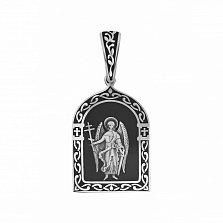 Серебряная ладанка Ангел Хранитель с черной эмалью и молитвой на тыльной стороне
