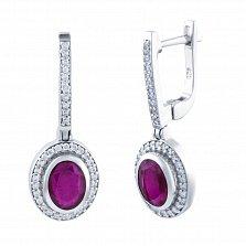Серебряные серьги-подвески Ольга с рубинами и дорожками белых фианитов