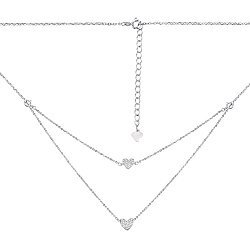 Серебряное двухслойное колье с фианитами 000134188