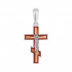 Серебряный крестик Воля на прямоугольной основе с красной эмалью и золотой накладкой
