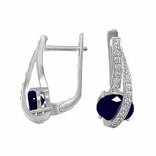 Серебряные серьги Алексия с синими ювелирными кристаллами и белыми фианитами