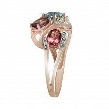Кольцо из красного золота Карнавал с аметистами, топазами, турмалинами и бриллиантами