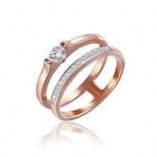 Серебряное кольцо Фанни с позолотой и фианитами