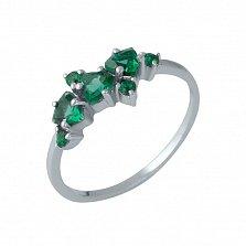 Серебряное кольцо Линнея с синтезированными изумрудами