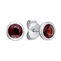 Серебряные серьги-пуссеты с гранатами 000144878