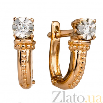 Золотые серьги с бриллиантами Майя 000030234