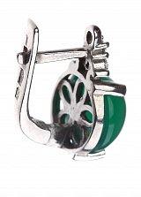 Серебряные серьги Круглая капля с зеленым агатом и фианитами