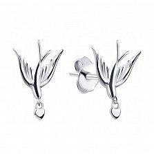 Серебряные серьги-пуссеты Влюбленные ласточки