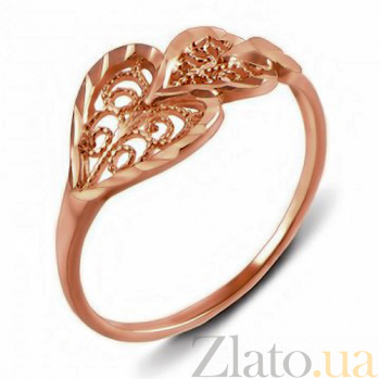 Кольцо из красного золота Ажурные сердца 12352 к