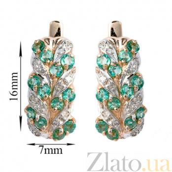Золотые серьги с бриллиантами и изумрудами Колосок 000021911