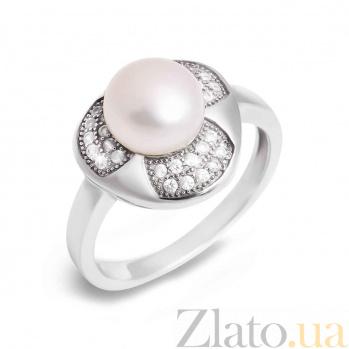 Серебряное кольцо с жемчугом и фианитами Жемчужина моря AQA--R00723PW