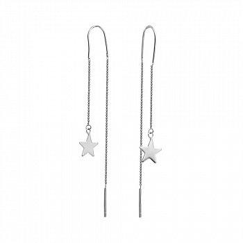 Срібні сережки-протяжки в стилі мінімалізм 000130686