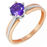 Золотое кольцо Делия с аметистом