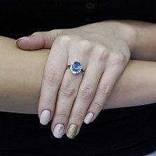 Серебряное кольцо Силина с голубым кварцем, черными и белыми фианитами