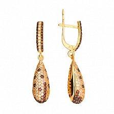 Серьги-подвески из желтого золота с белым и оранжевым цирконием Леди