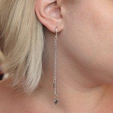 Серебряные серьги-подвески Цветочные тайны с белым жемчугом и фианитами в стиле Луи Виттон
