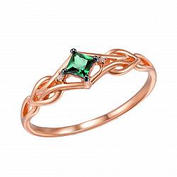 Кольцо из красного золота Элеонора с бриллиантами и изумрудом