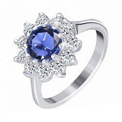 Серебряное кольцо с синим фианитом 000025478