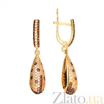 Серьги-подвески из желтого золота с белым и оранжевым цирконием Леди VLT--ТТ229-1