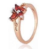 Серебряное кольцо с красным цирконием Butterfly