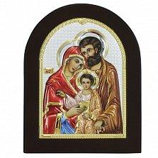 Икона на деревянной основе Святое семейство с цветной эмалью и позолотой, 13х17
