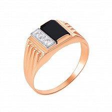 Перстень-печатка в красном и белом золоте Бостон с черным ониксом и фианитами
