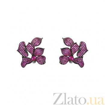 Серебряные серьги с рубинами Лаверн 3С291-0030